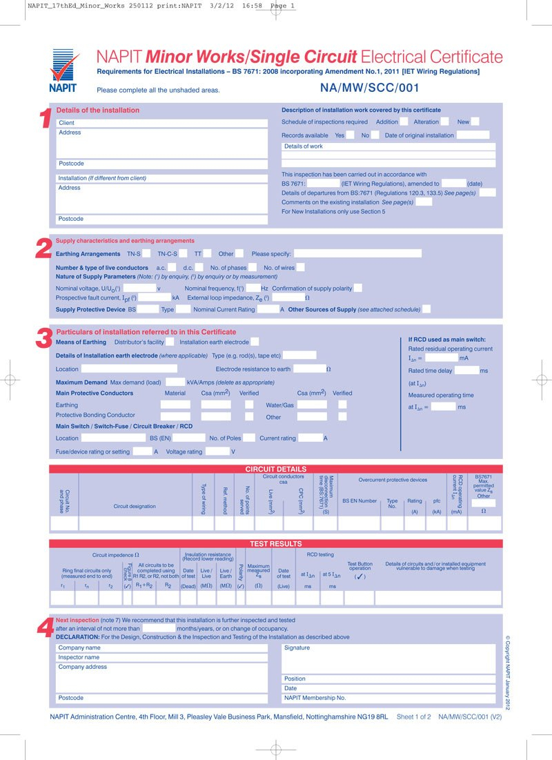Electrical Minor Works Certificate Template  Mandegar With Regard To Electrical Minor Works Certificate Template