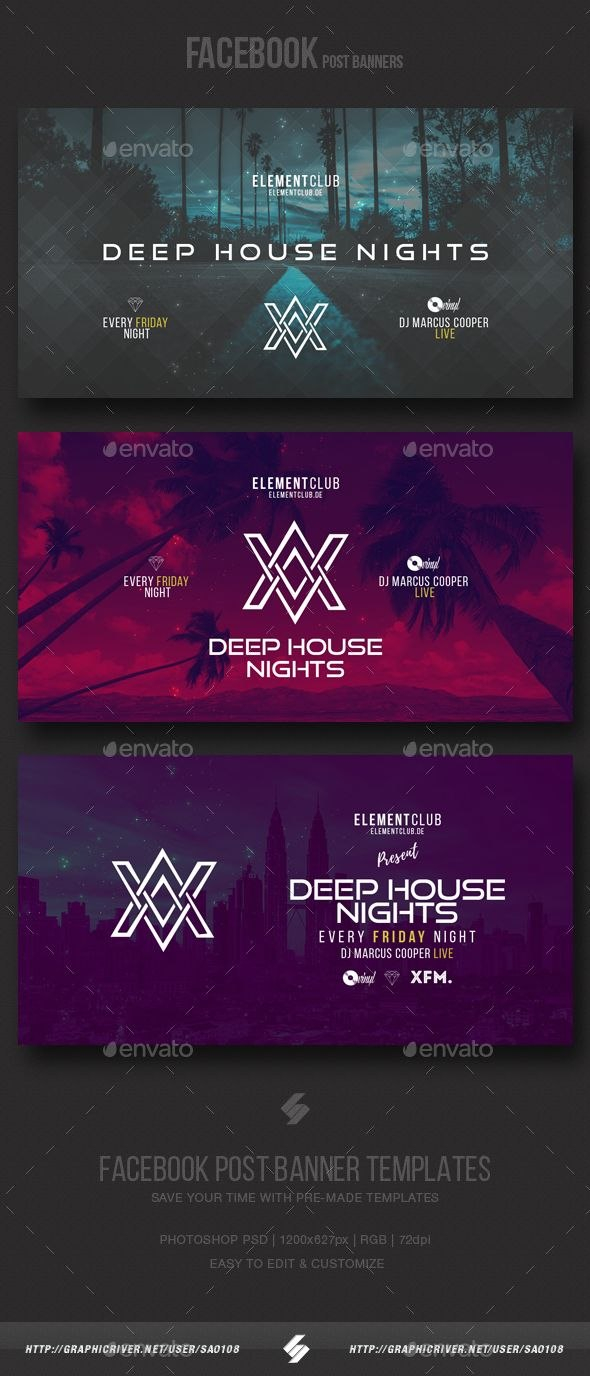 Electronic Music Party  Facebook Post Banner Templates Psd Ads With Regard To Facebook Banner Template Psd