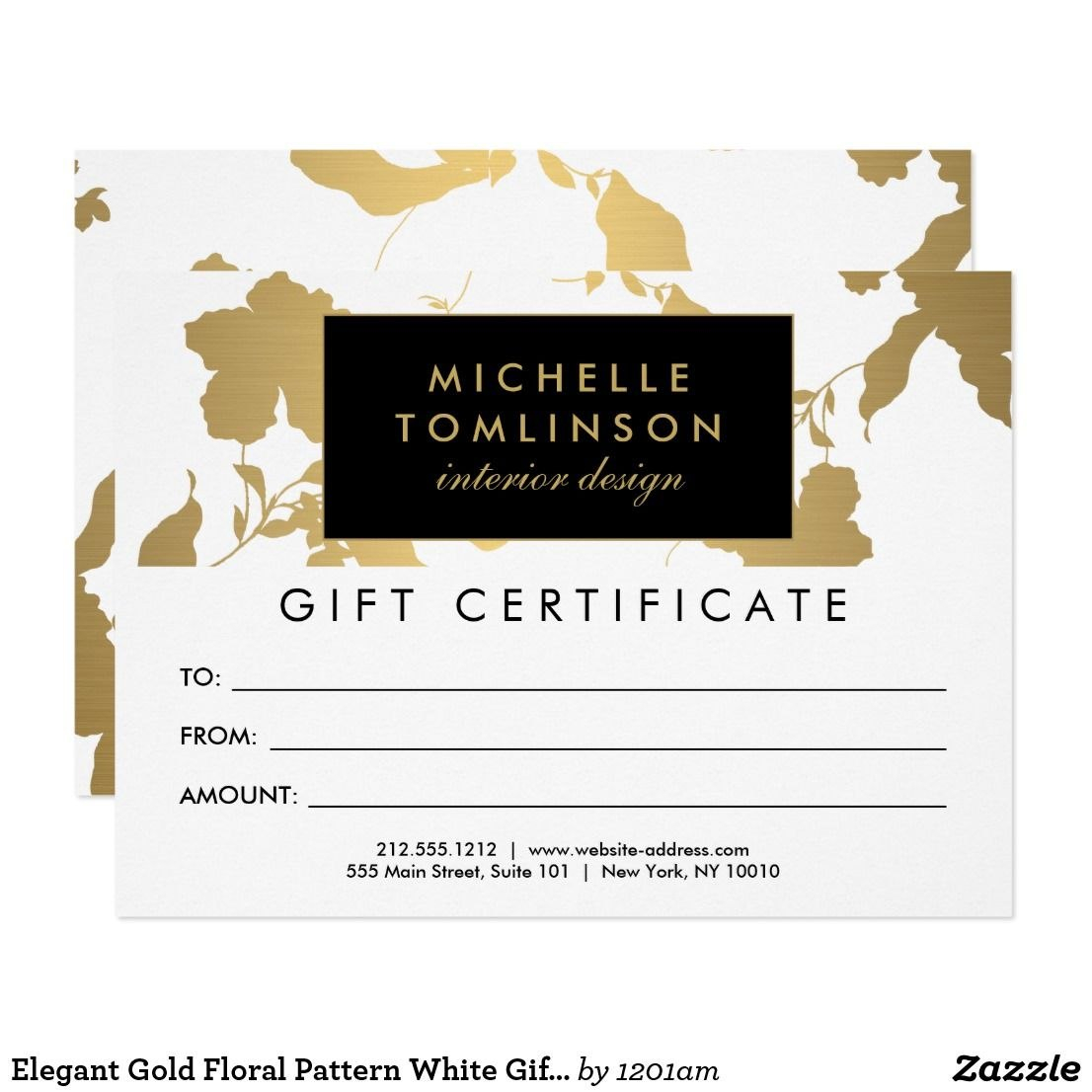 Elegant Gold Floral Pattern White Gift Certificate  Zazzleca In With Elegant Gift Certificate Template