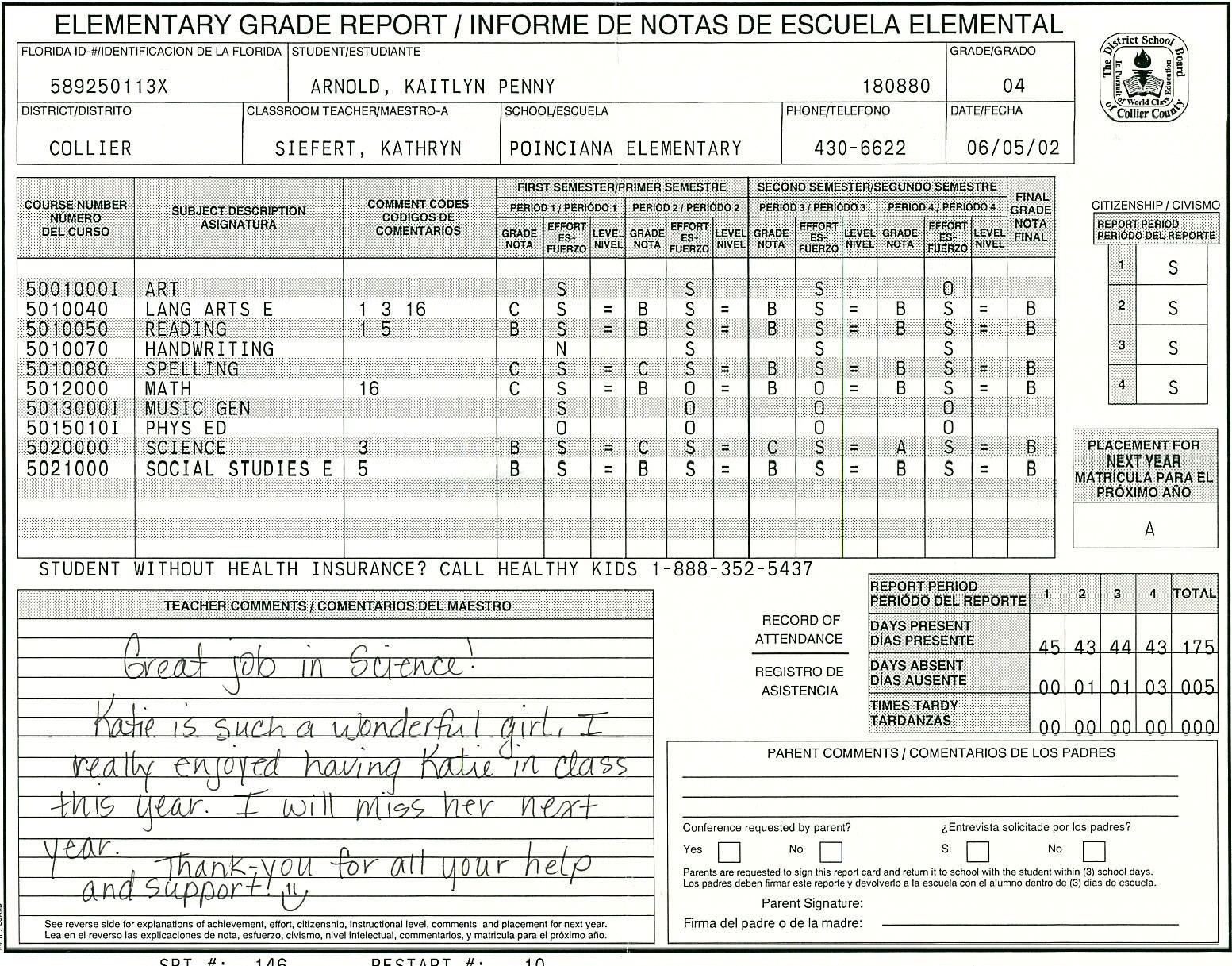 Elementary School Report Card Template  Homeschooling  Report Card In High School Report Card Template