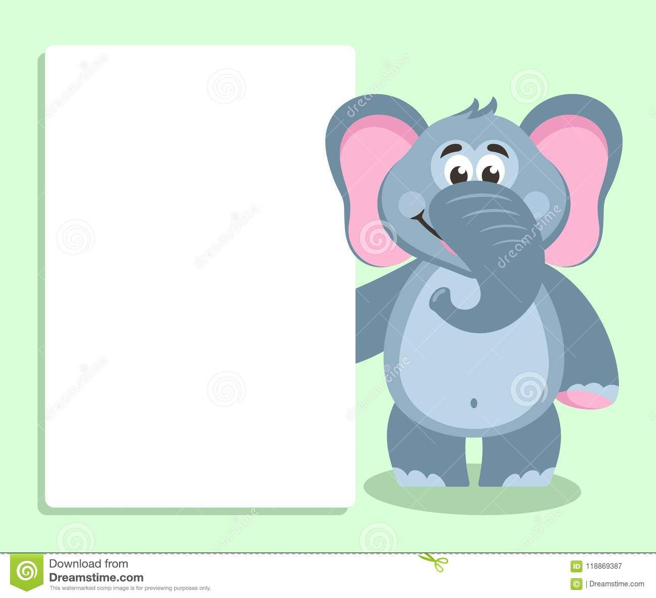 Elephant With White Board Template For Your Text Stock Inside Blank Elephant Template