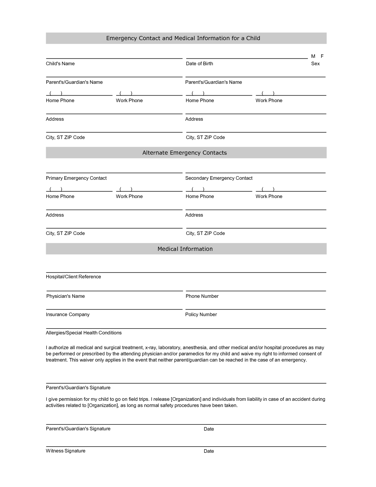 Emergency Contact Information Form Template  Printables  Daycare Within Student Information Card Template