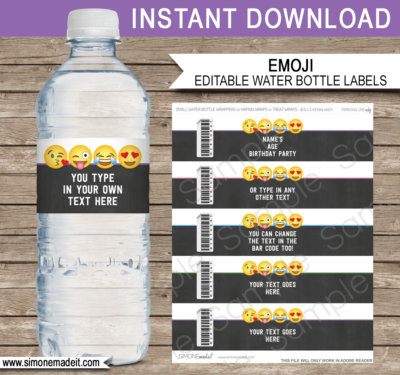 Emoji Water Bottle Labels Template  Emoji Theme Decorations With Regard To Birthday Water Bottle Labels Template Free