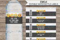 Emoji Water Bottle Labels Template  Emoji Theme Decorations within Drink Bottle Label Template