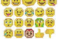Emojis in Blank Perler Bead Template
