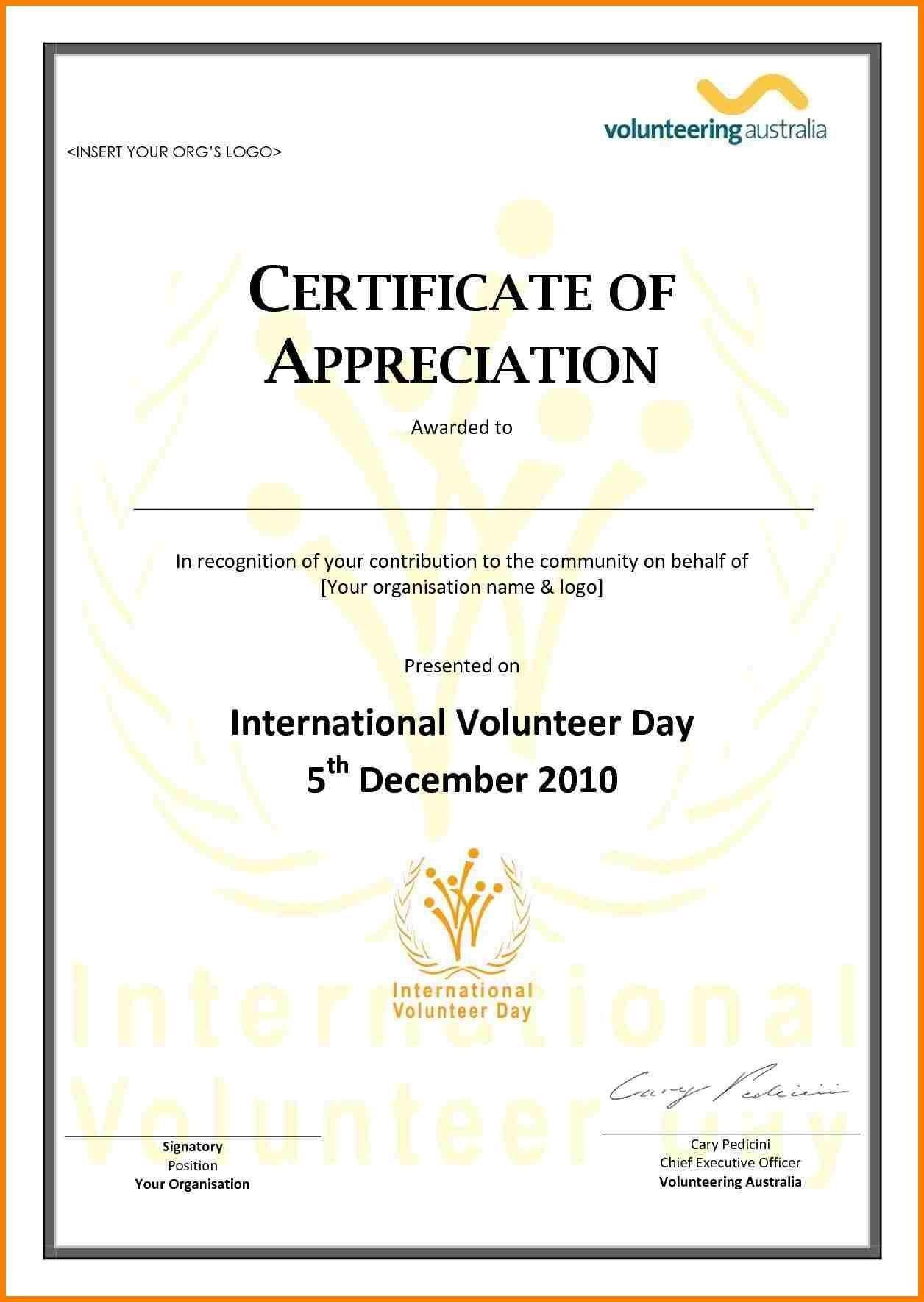 Employee Appreciation Certificate Template Free Resume Samples In Volunteer Certificate Templates