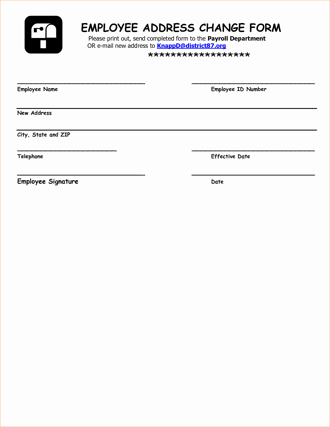 Employee Change Form Template  Template Modern Design Intended For Business Change Of Address Template