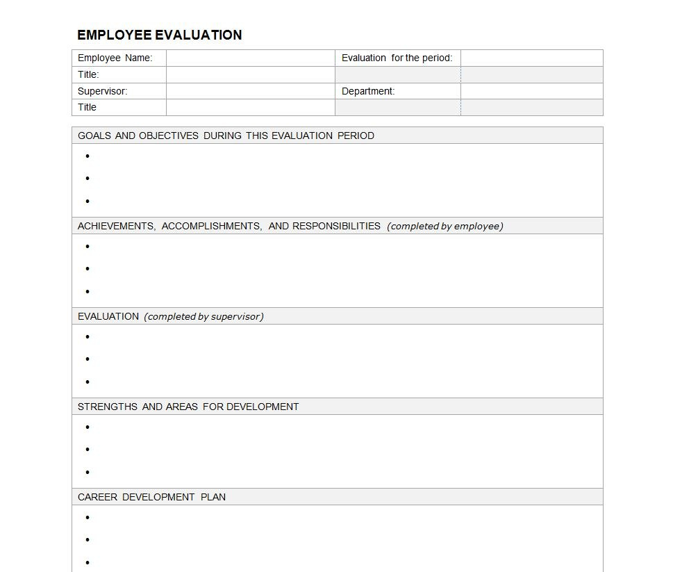 Employee Evaluation Form  Employee Performance Evaluation For Blank Evaluation Form Template