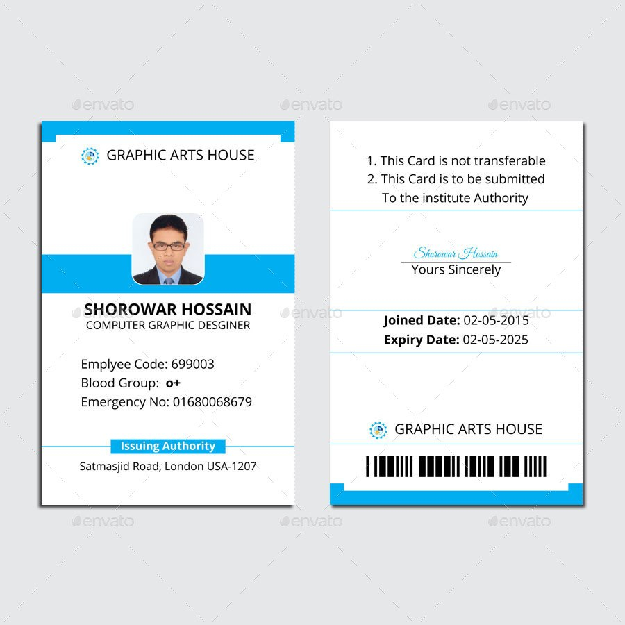 Employee Id Cardthedesignsource  Graphicriver Inside Id Card Template Ai