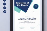 Employee Of The Month Certificate Template Inside Employee Of The Month Certificate Template With Picture
