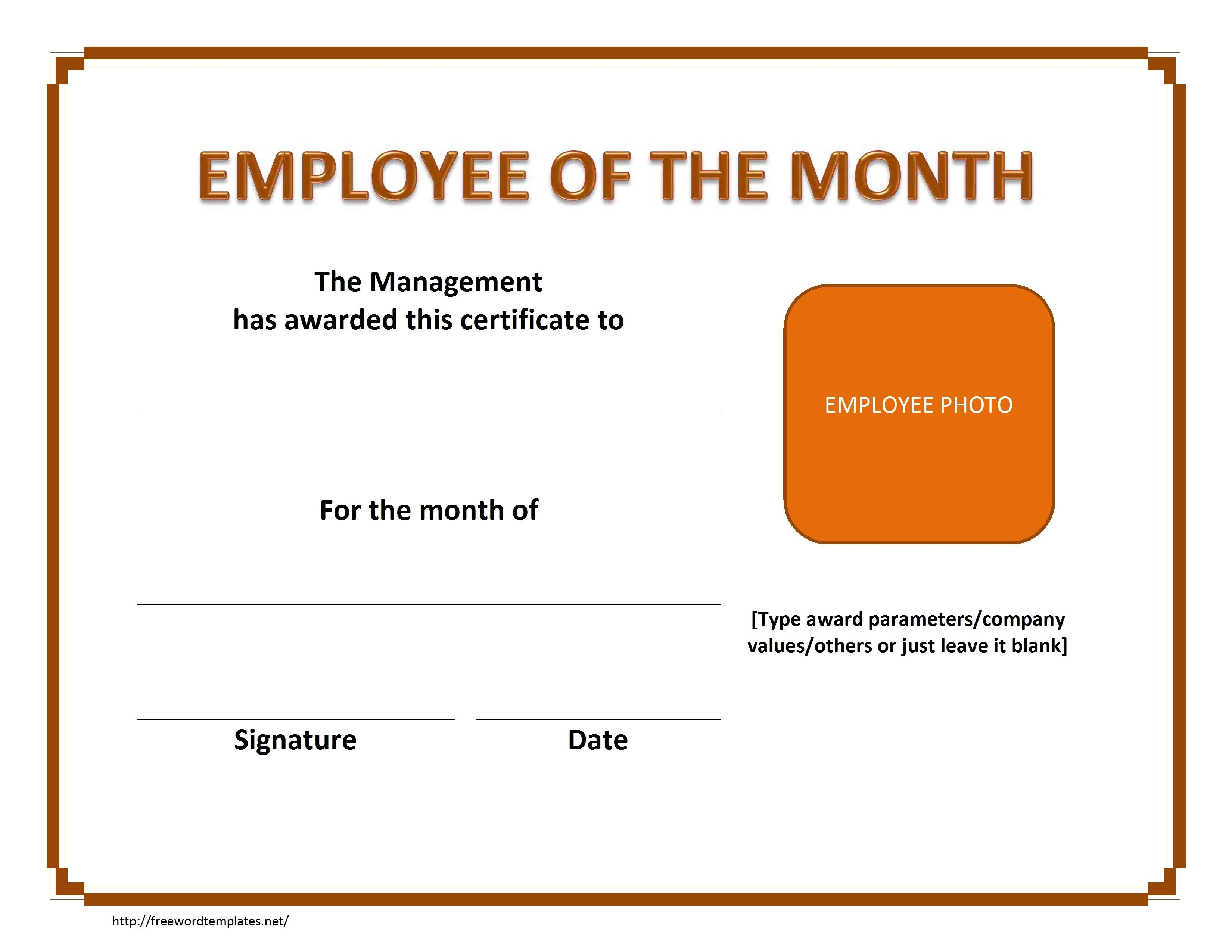 Employee The Month Certificate Template Free Microsoft Word Haven For Employee Of The Month Certificate Templates