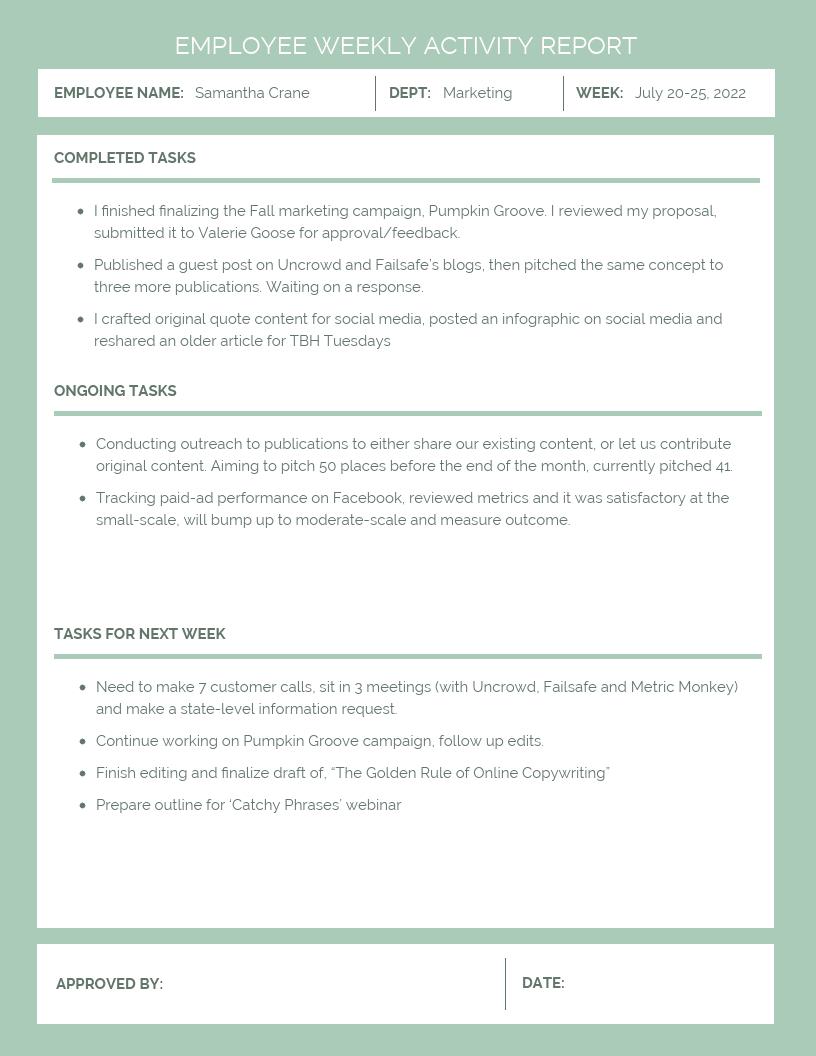 Employee Weekly Activity Report Template  Venngage Inside Weekly Activity Report Template