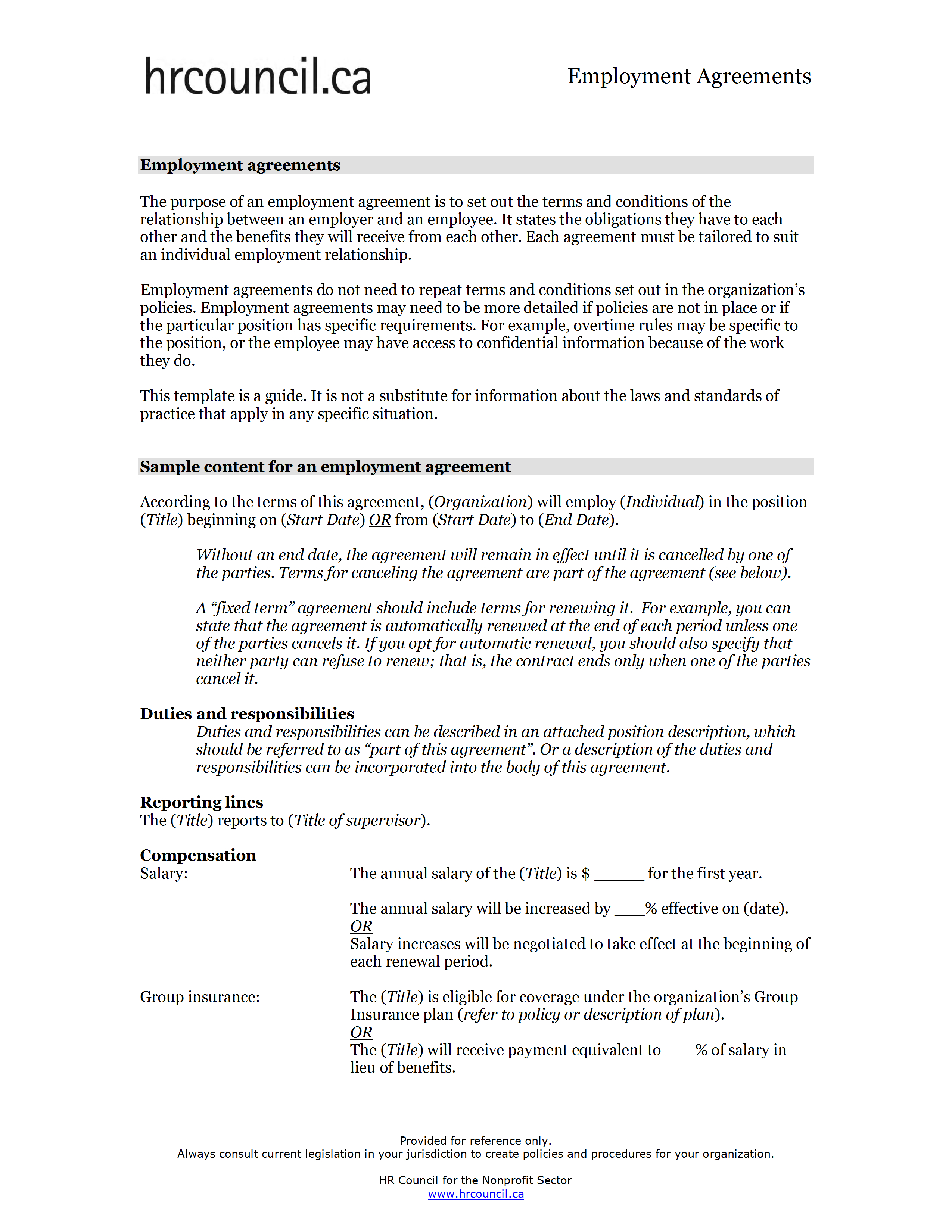 Employment Agreement Template Intended For Overtime Agreement Template