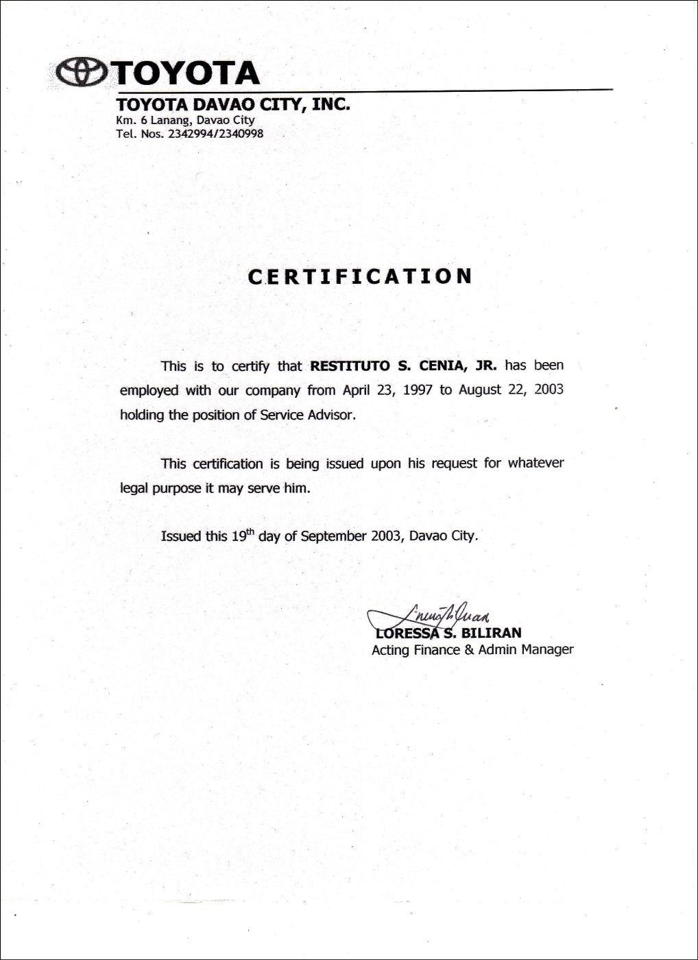 Employment Certificate Sample Best Templates Pinterest Marriage Inside Certificate Of Employment Template