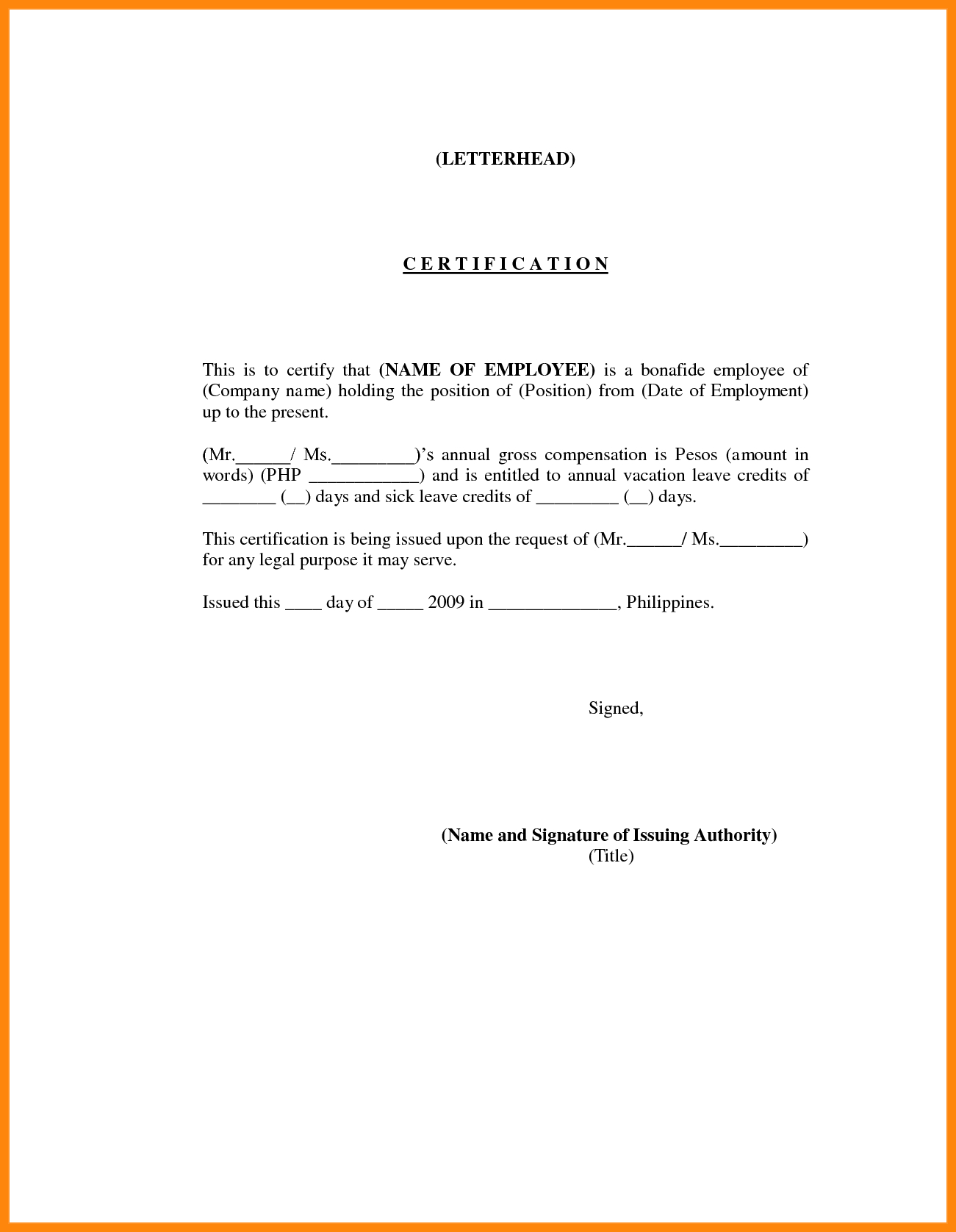 Employment Certification Sample  Nurse Resumed  Yon Youet Regarding Certificate Of Employment Template