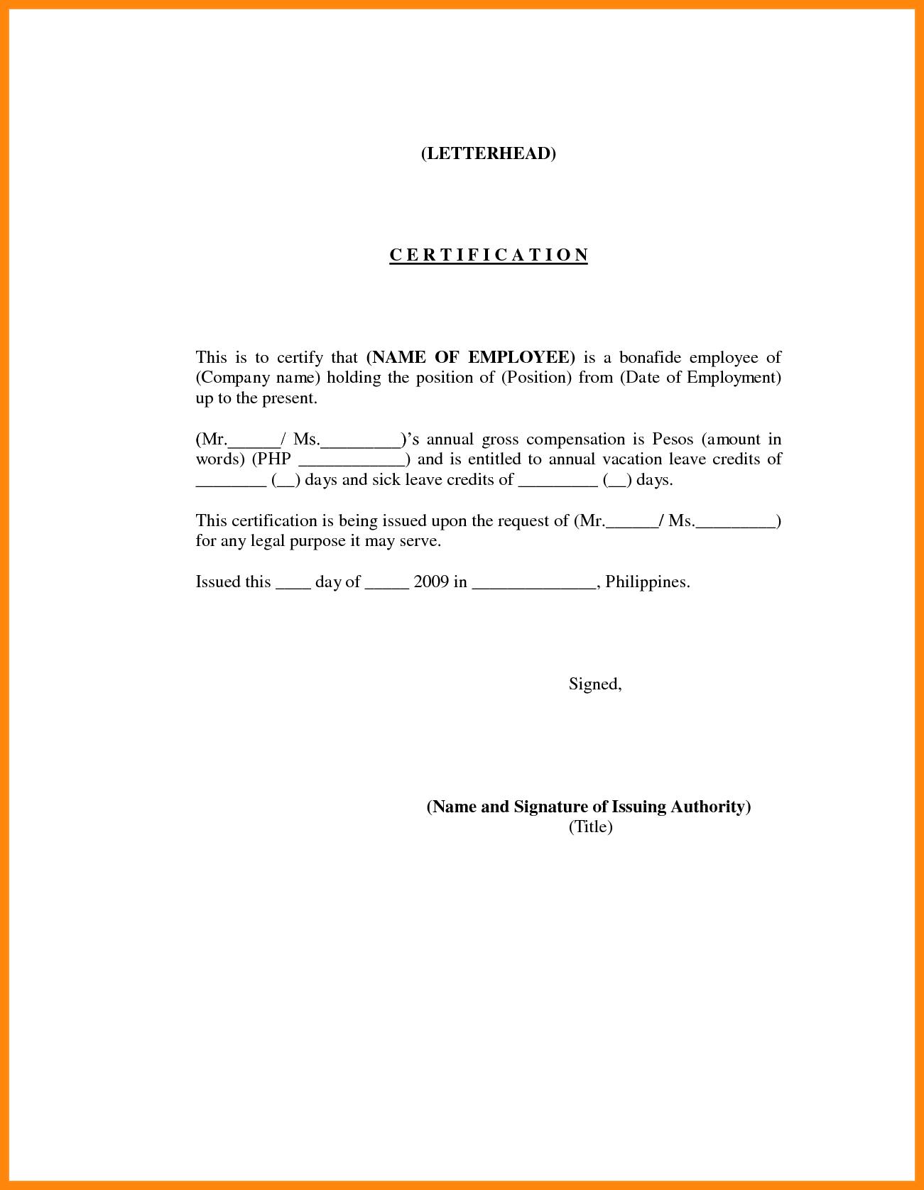 Employment Certification Sample  Nurse Resumed  Yon Youet With Sample Certificate Employment Template