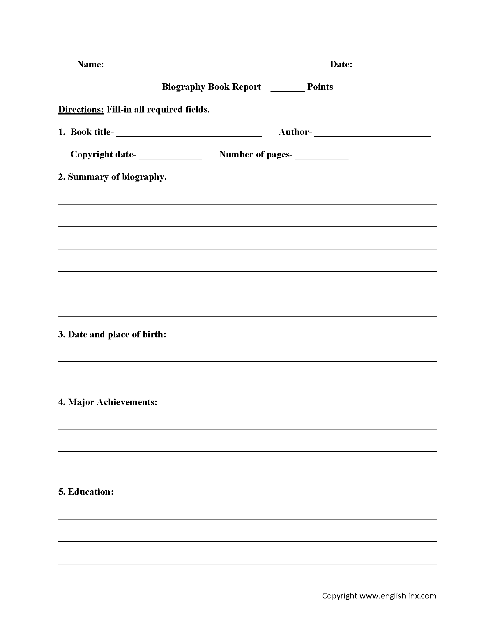 Englishlinx  Book Report Worksheets Throughout Book Report Template Middle School