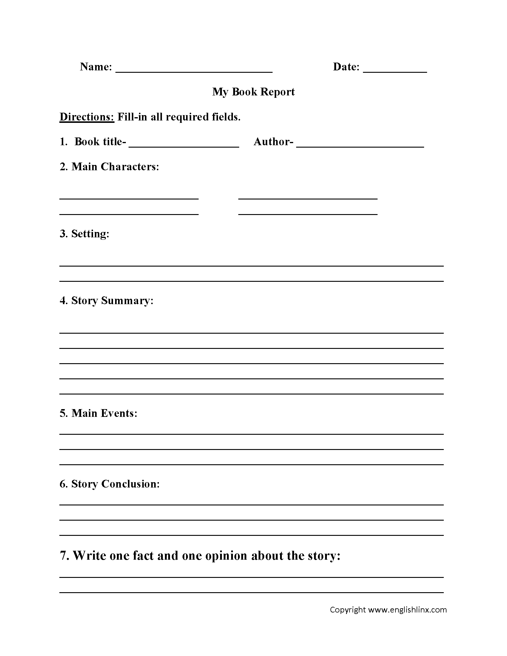 Englishlinx  Book Report Worksheets With 6Th Grade Book Report Template