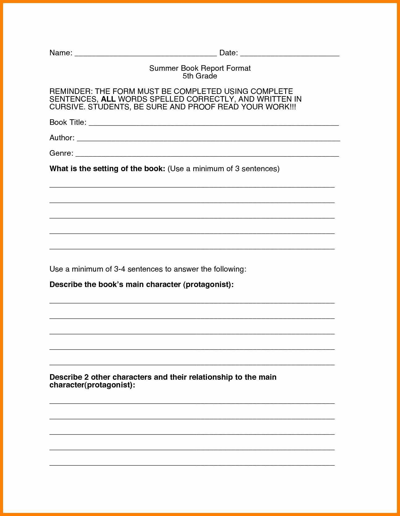Englishlinx Com Ook Report Worksheets Template Th Grade Non Fiction Within Book Report Template 5Th Grade