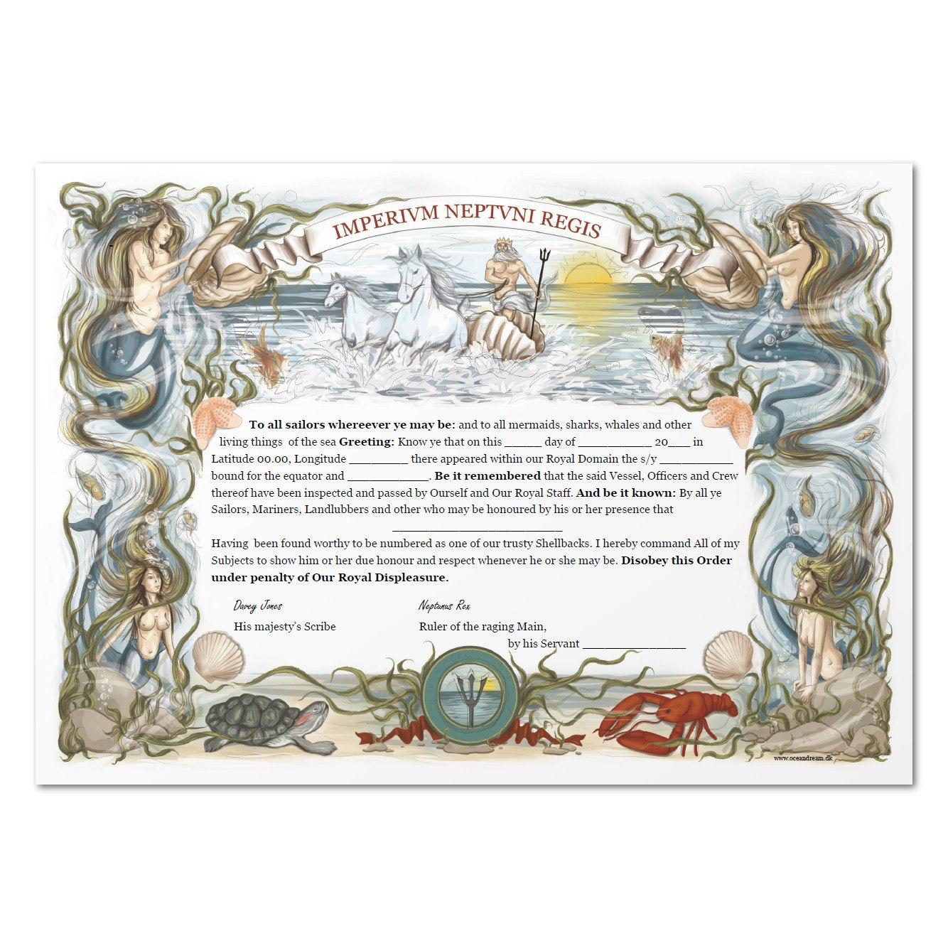 Equator Certificate – Ocean Dream For Crossing The Line Certificate Template