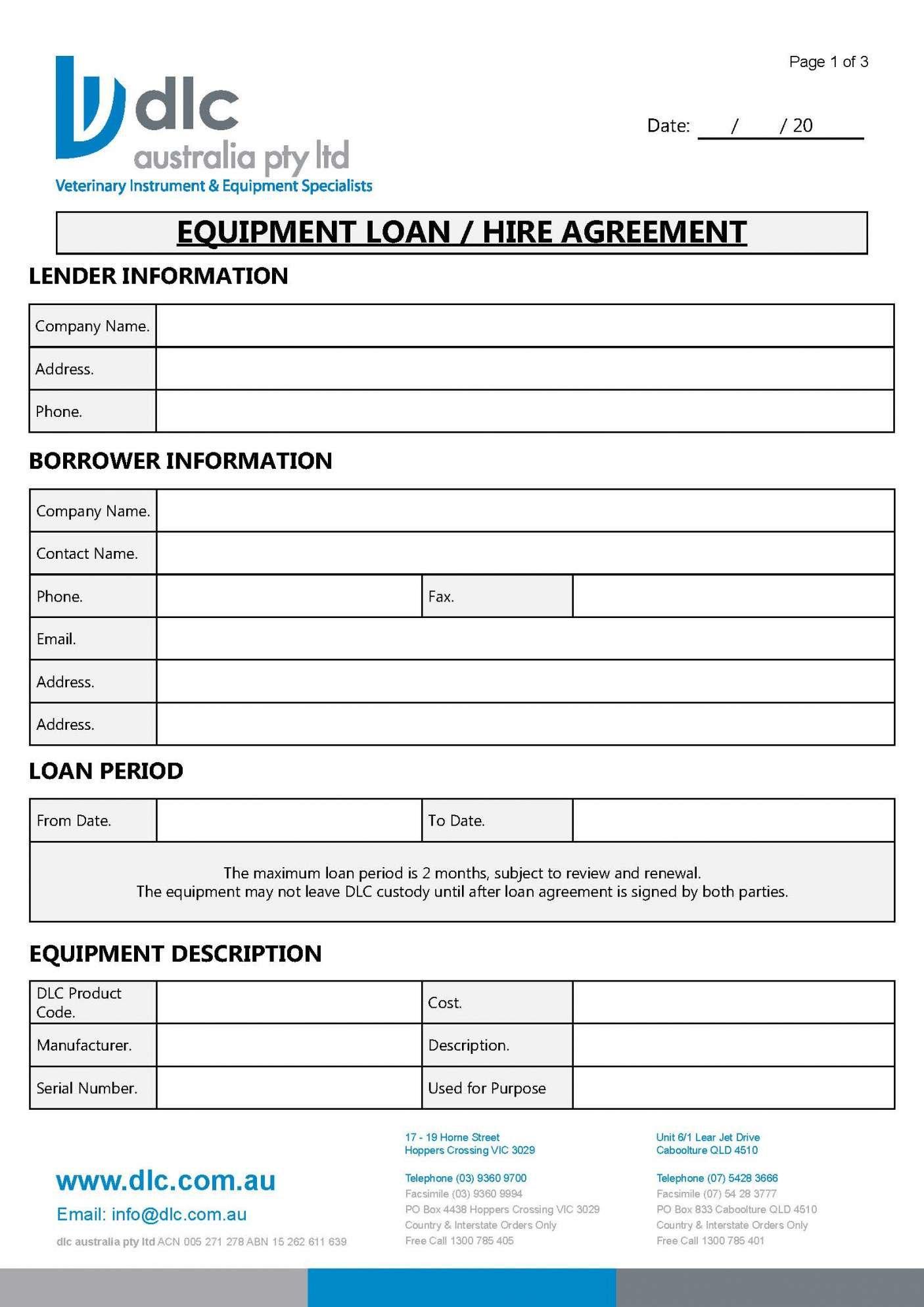 Equipment Hire Agreement Template Australia For Hire Agreement Template Australia