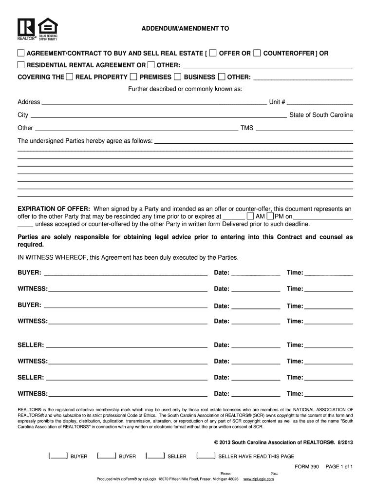 Estate Addendum Sc  Fill Online Printable Fillable Blank  Pdffiller In Real Estate Commission Split Agreement Template