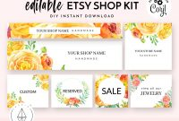 Etsy Shop Banner Set Etsy Shop Kit Etsy Shop Graphics Store  Etsy throughout Etsy Banner Template