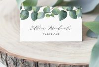 Eucalyptus Place Card Template Instant Download Printable  Etsy with Michaels Place Card Template