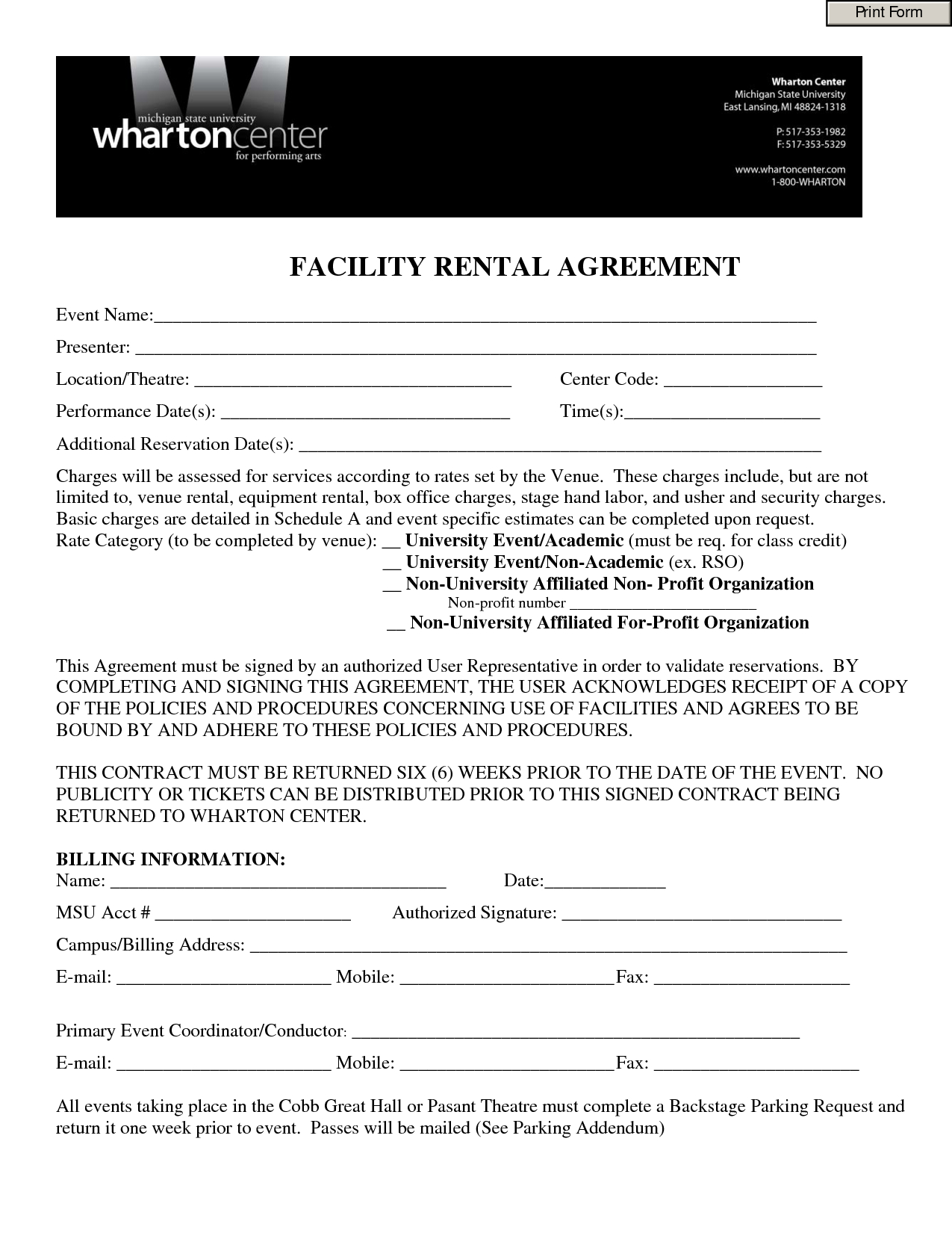 Event Contract Template  Invitation Templates  Facility Rental Throughout Free Facility Rental Agreement Template