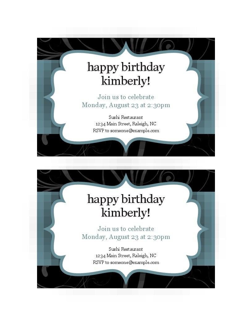 Event Invitations  Per Page Regarding Quarter Sheet Flyer Template Word