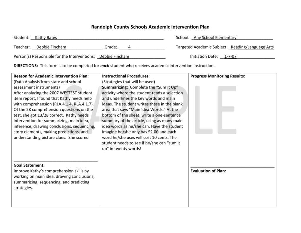 Example Of Academic Intervention Plan For Grades With Regard To Intervention Report Template