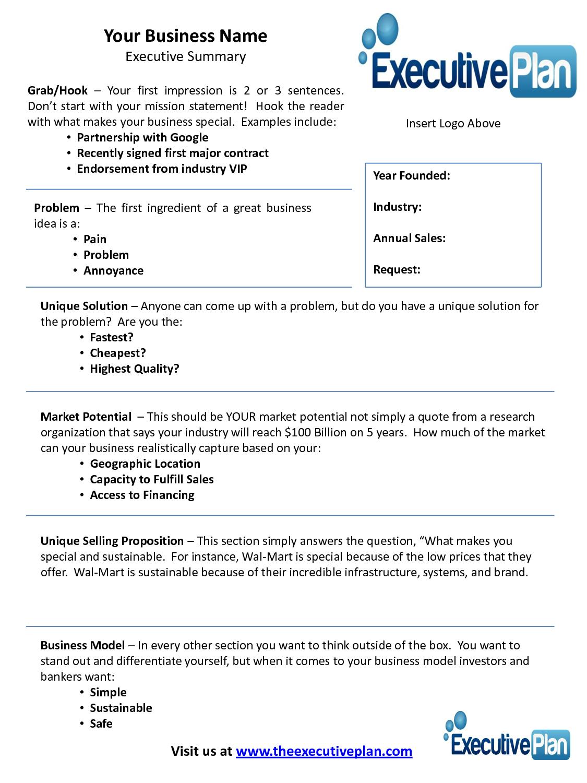 Examples Of An Executive Summary  Executive Summary Template For For Executive Summary Of A Business Plan Template