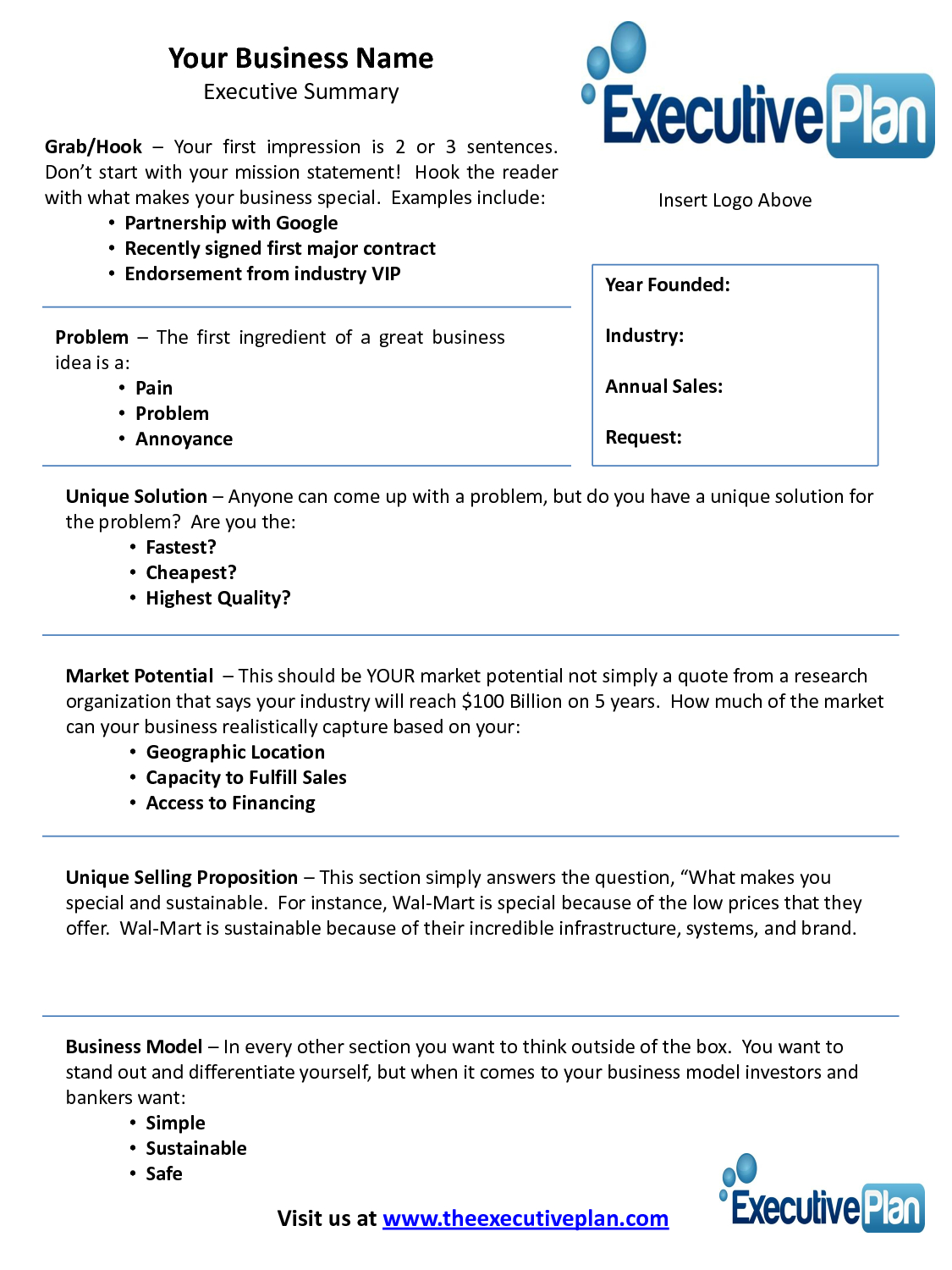 Examples Of An Executive Summary  Executive Summary Template For Inside Executive Summary Template For Business Plan