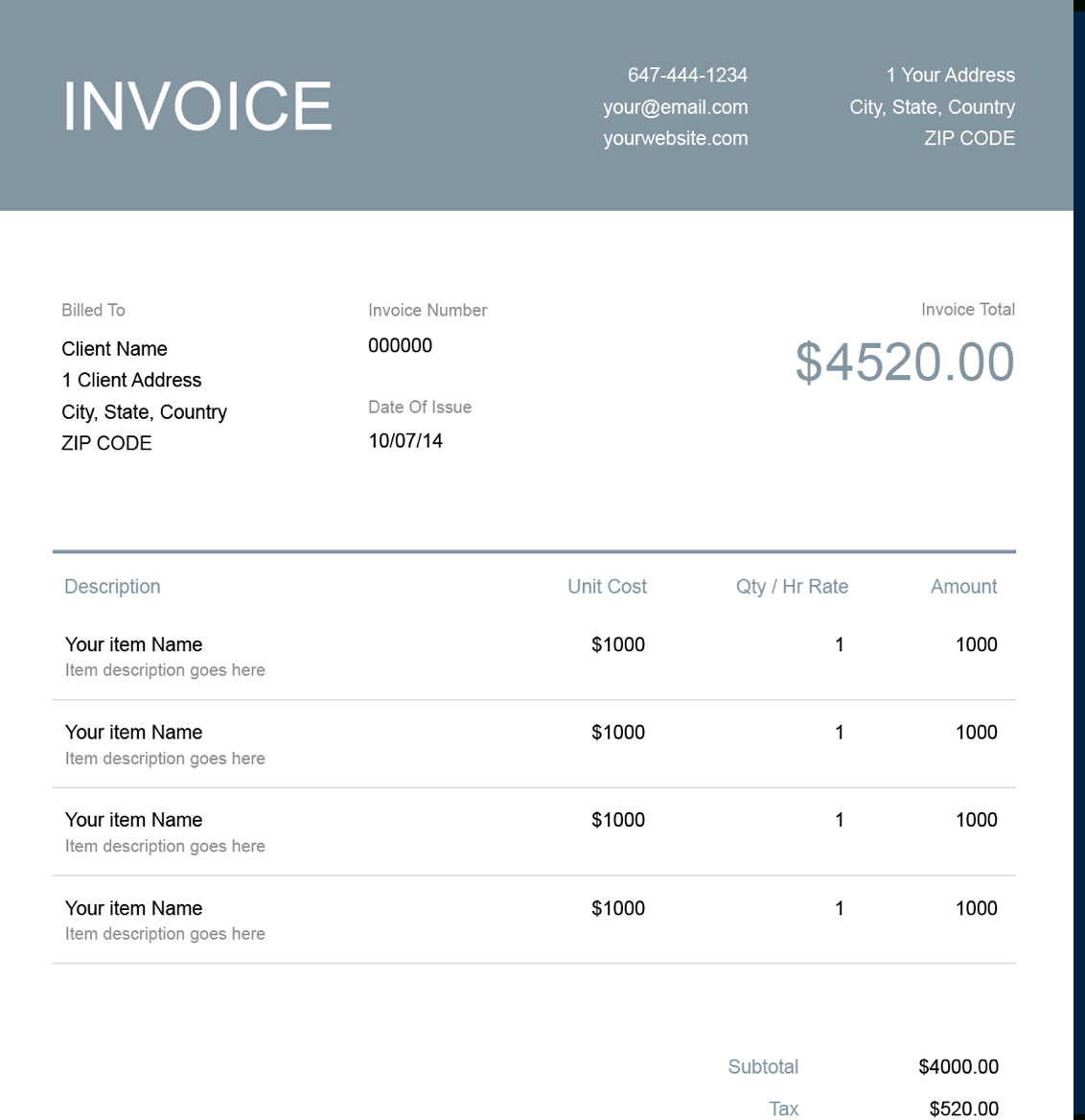 Excel Invoice Template  Free Download  Send In Minutes In Xl Invoice Template