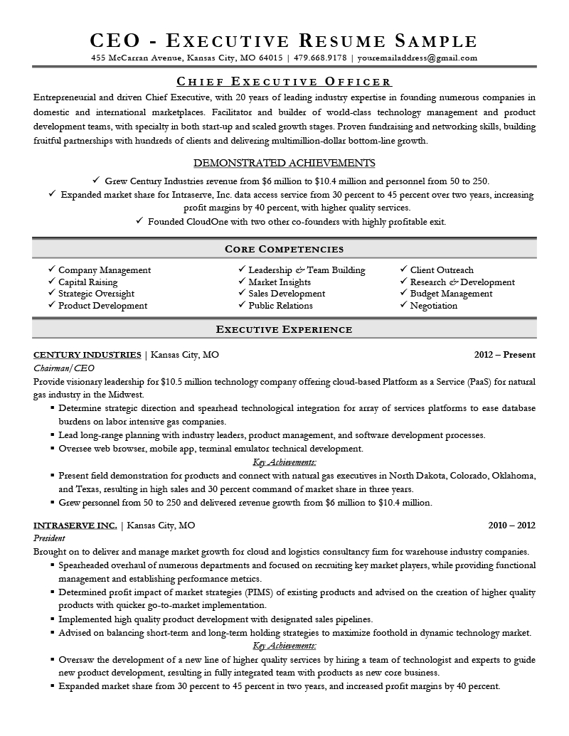 Executive Resume Examples  Writing Tips  Ceo Cio Cto Within Ceo Report To Board Of Directors Template