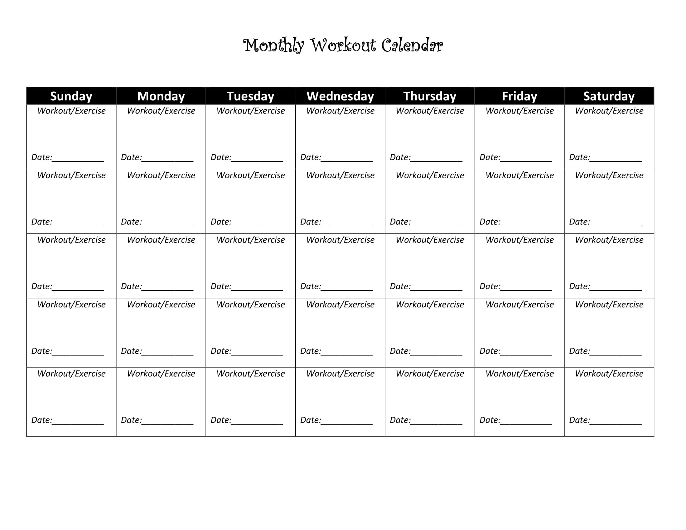 Exercise Calendar Intended For Blank Workout Schedule Template