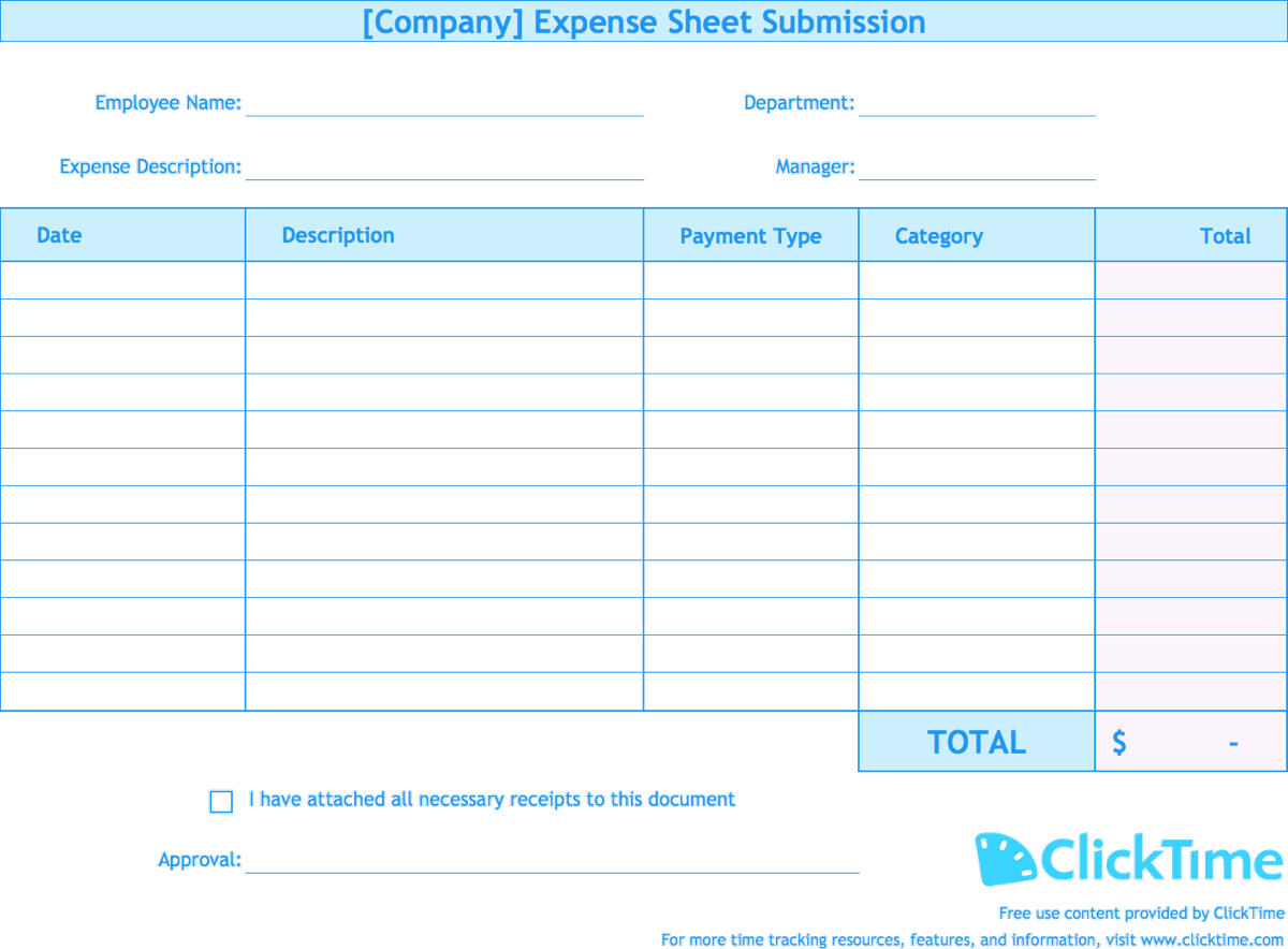 Expense Report Template  Track Expenses Easily In Excel  Clicktime Within Expense Report Spreadsheet Template