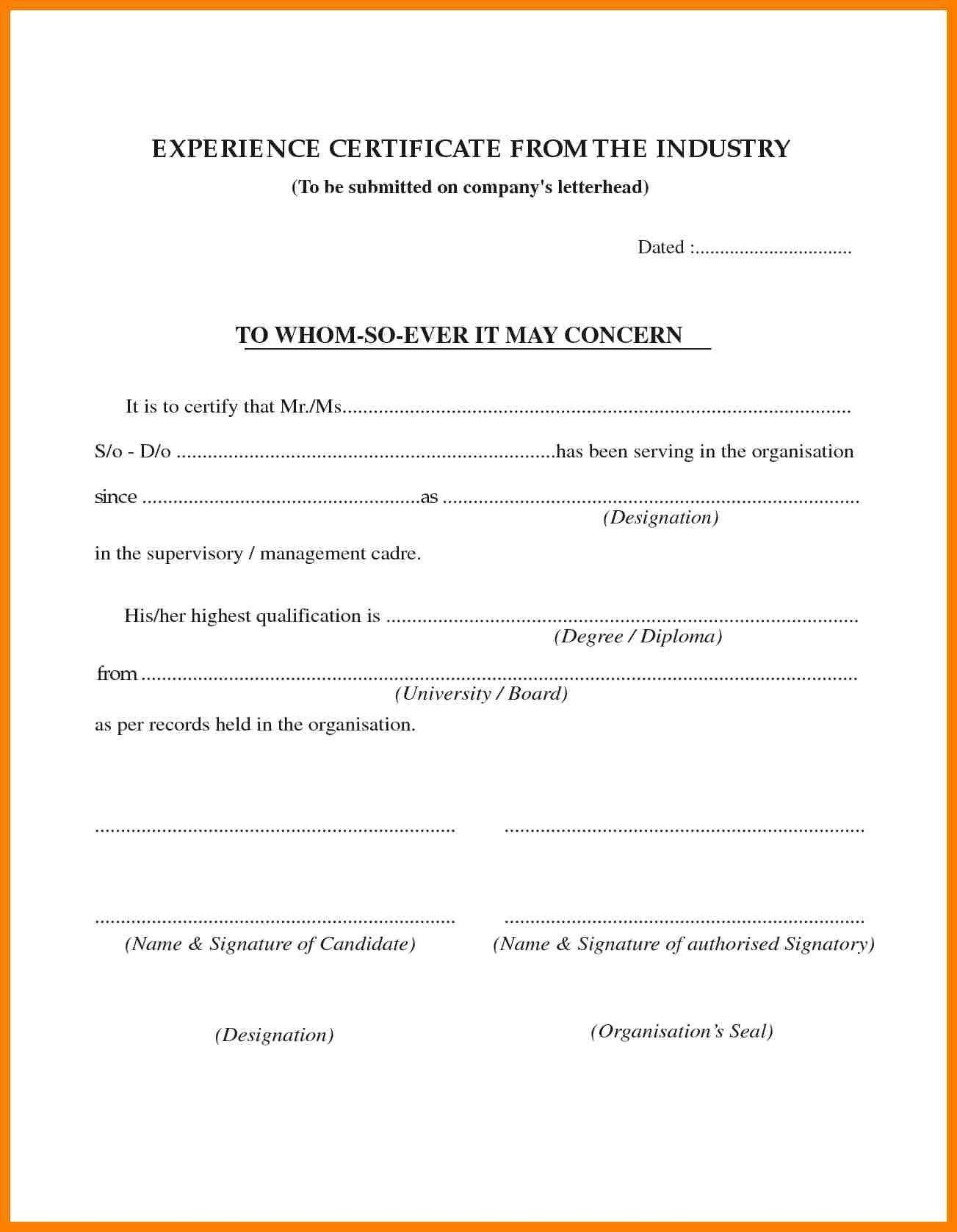 Experience Certificate Sample In Pdf Fresh  Job Experience Throughout Farewell Certificate Template