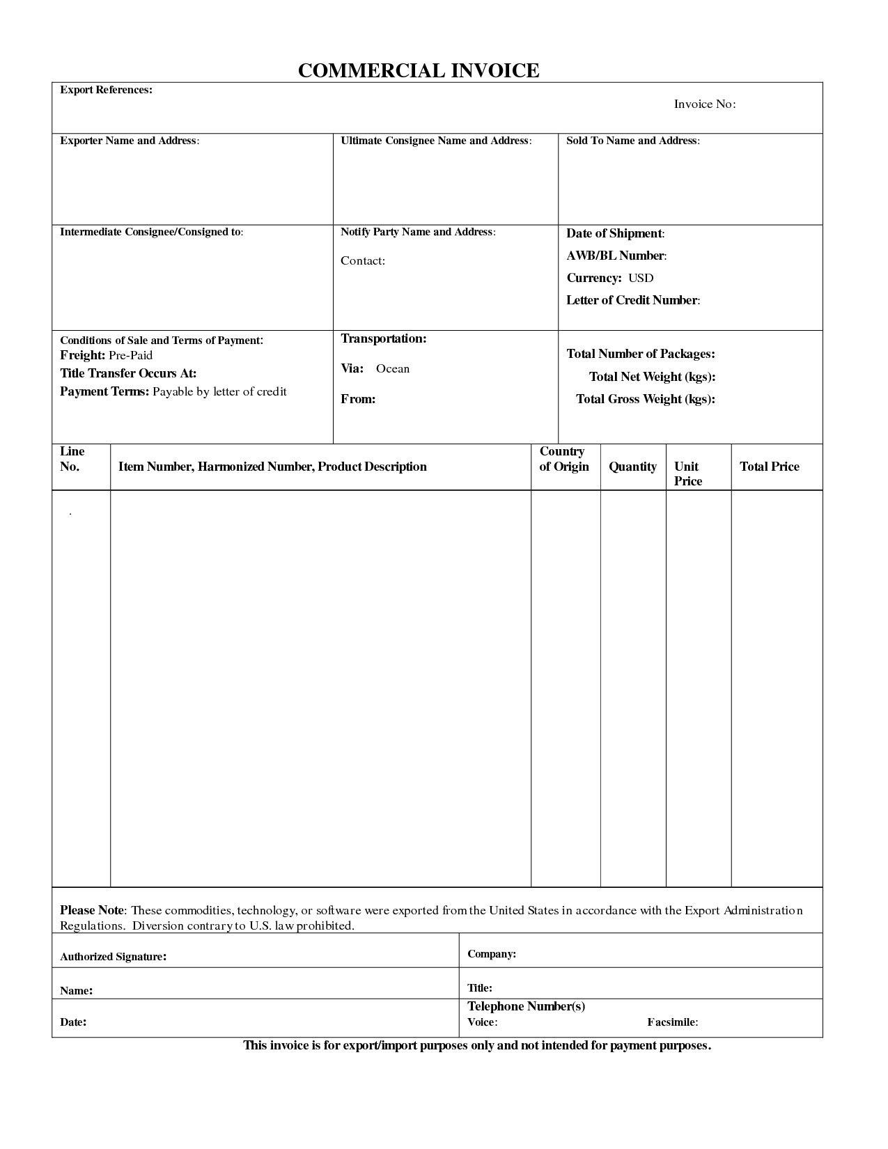 Export Invoice Template Quickbooks Für Export Proforma Invoice Pinar With Regard To Export Invoice Template Quickbooks