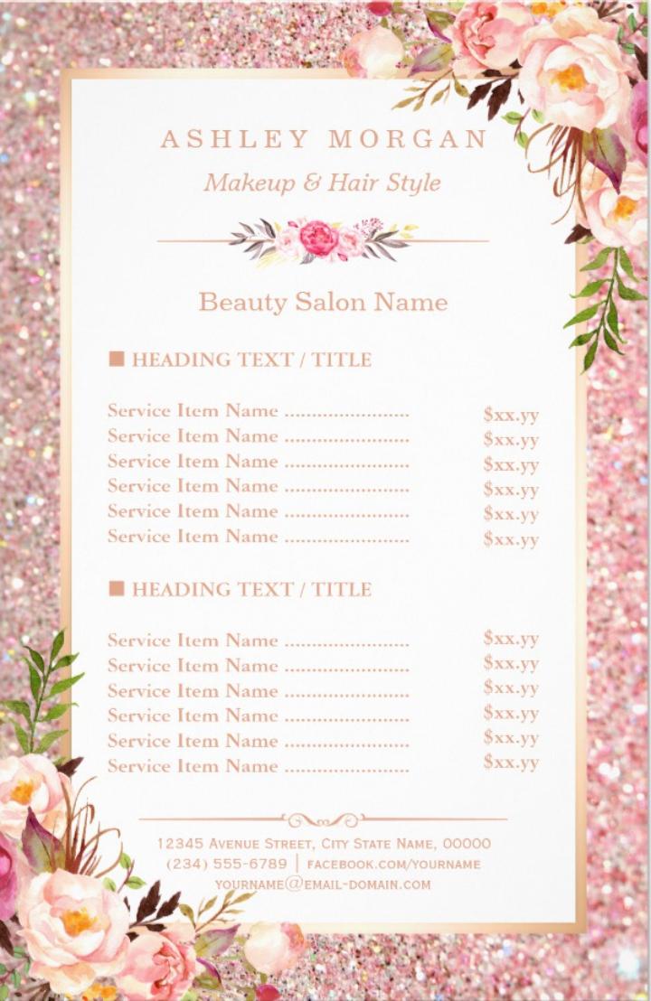 Eyecatching Salon Menu Templates  Psd Ai  Free  Premium Pertaining To Salon Menu Templates