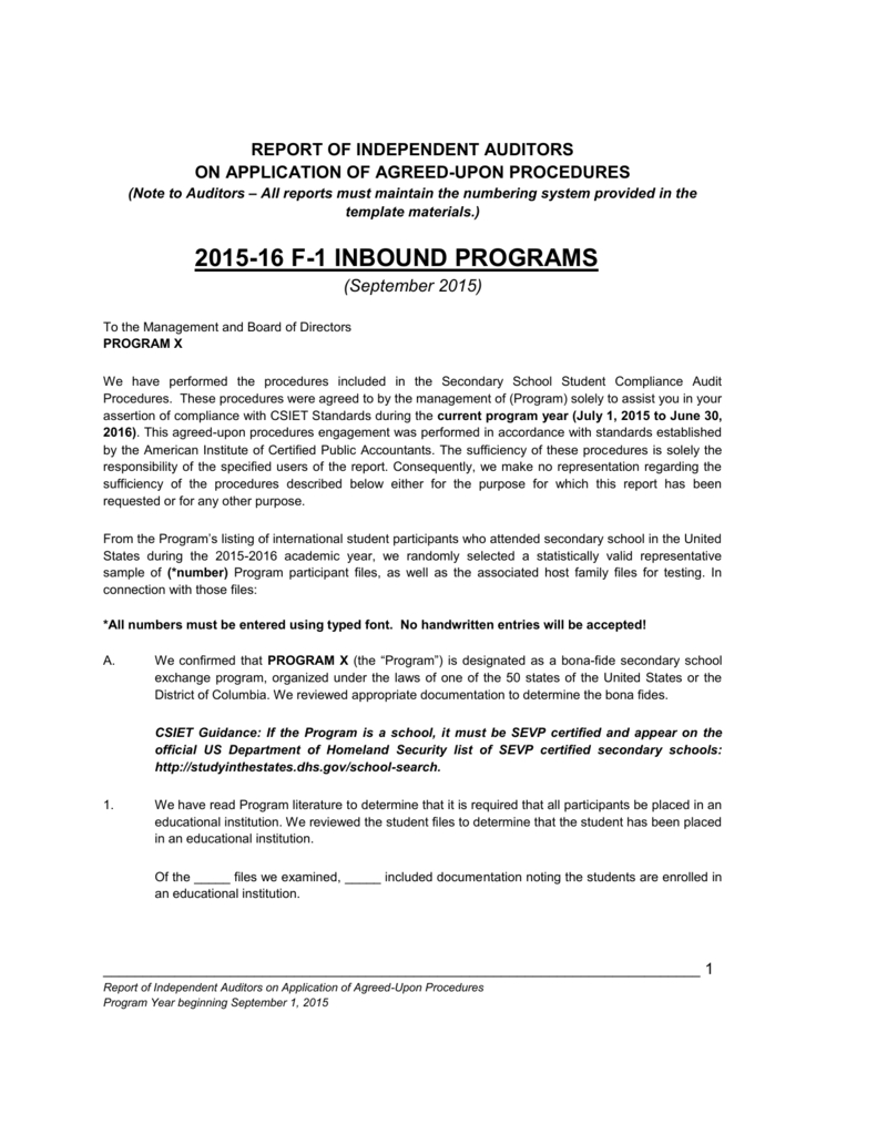 F Compliance Audit Report With Agreed Upon Procedures Report Template