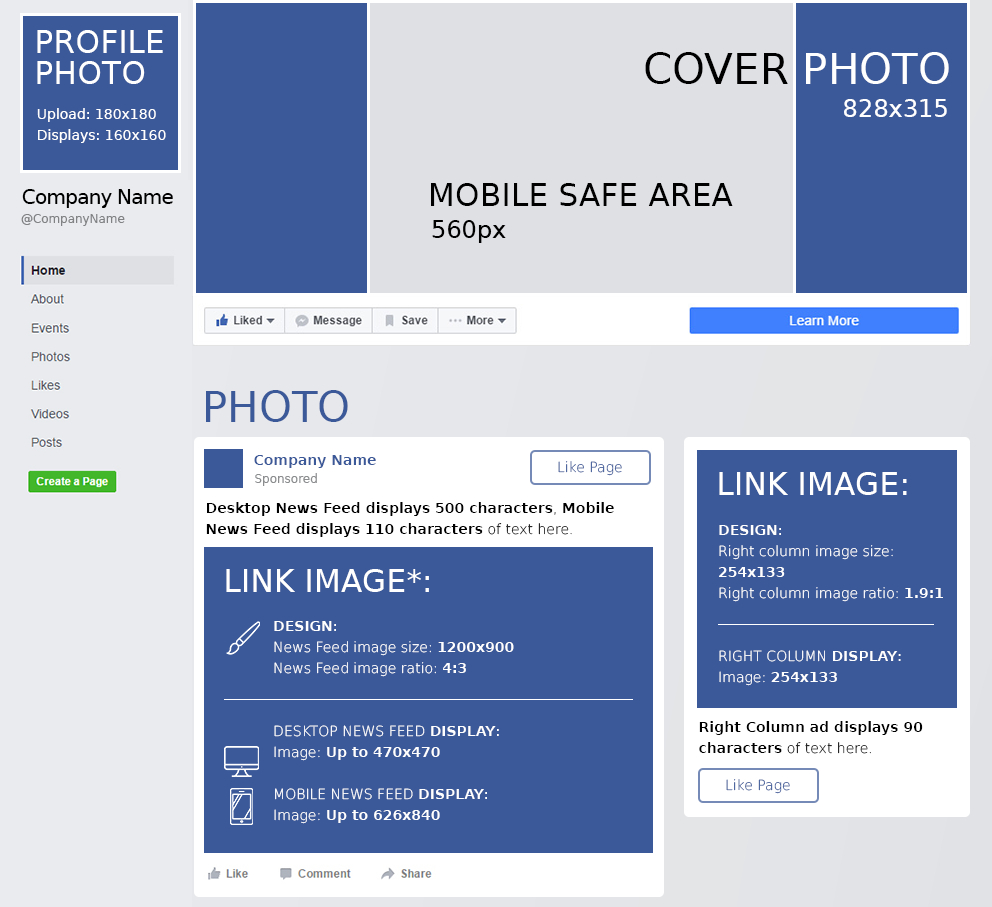 Facebook Cheat Sheet All Sizes Dimensions And Templates Pertaining To Facebook Banner Size Template