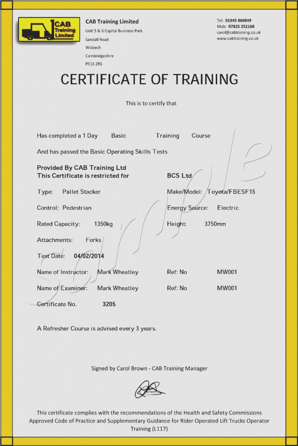Facts That Nobody Told You About Forklift  Invoice Form Throughout Forklift Certification Template