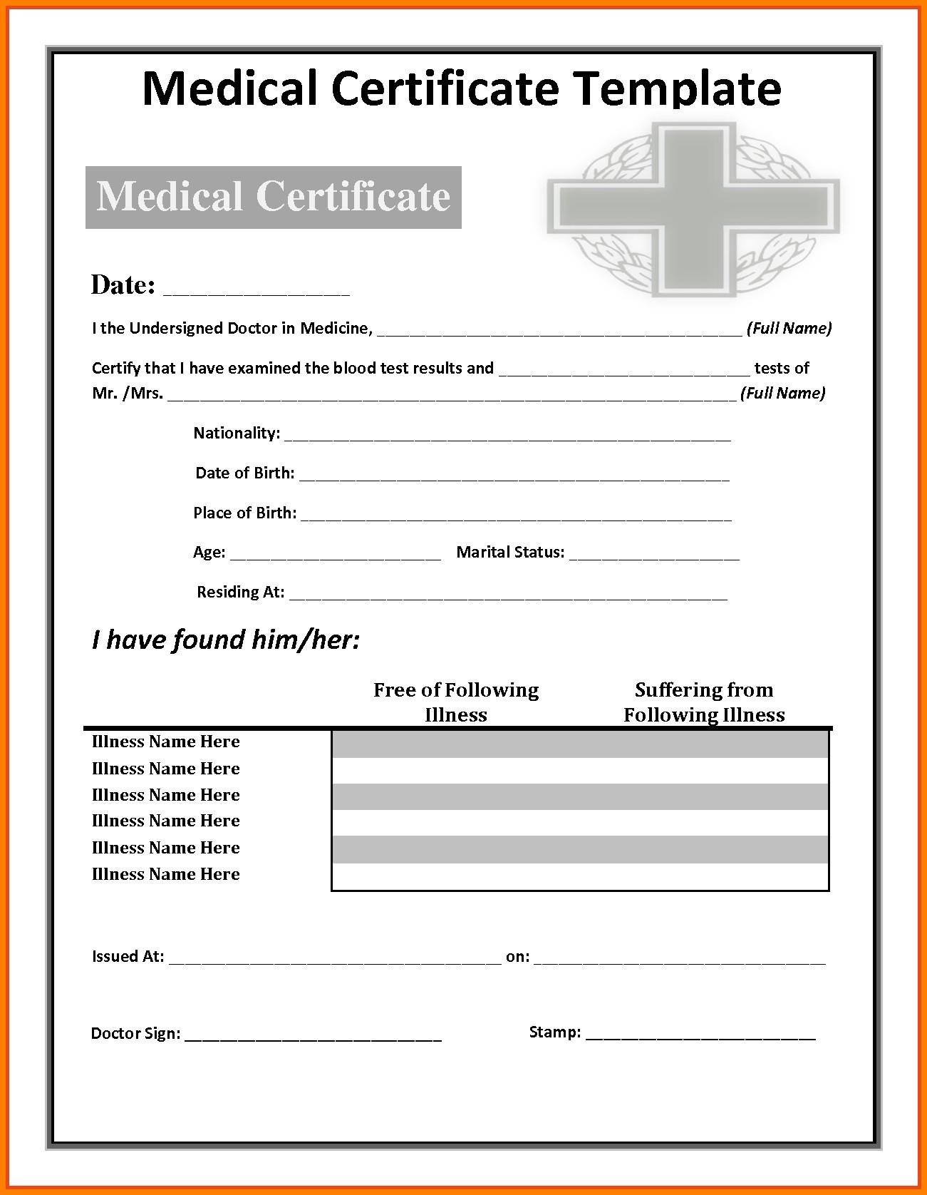 Fake Medical Certificate  Lbl Home Defense Products Within Free Fake Medical Certificate Template