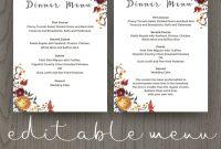 Fall Wedding Dinner Menu Template  Wedding Menu Cards  Wedding inside Design Your Own Menu Template