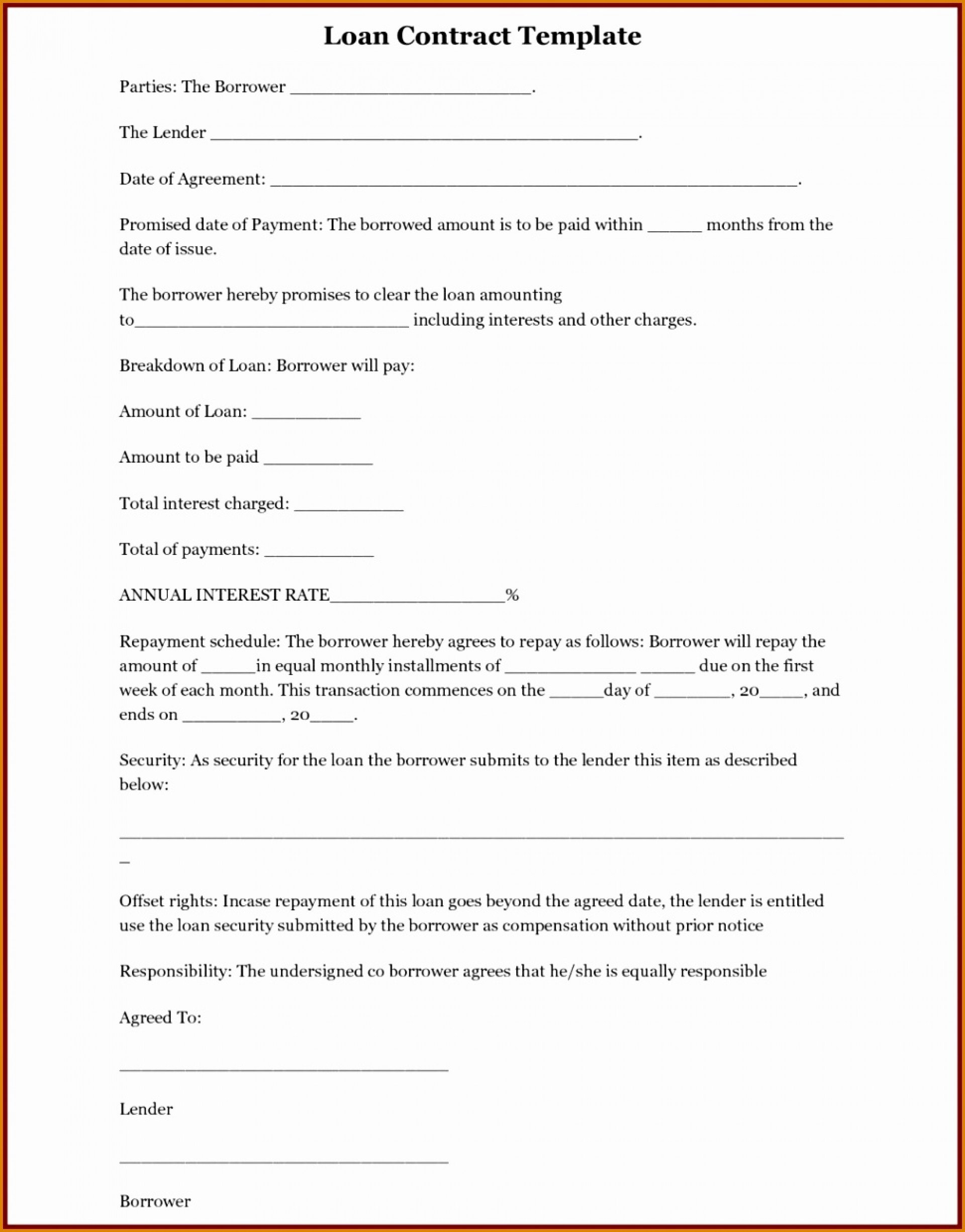 Family Loan Agreement Template Contract For Borrowing Moneym Pertaining To Family Loan Agreement Template Free
