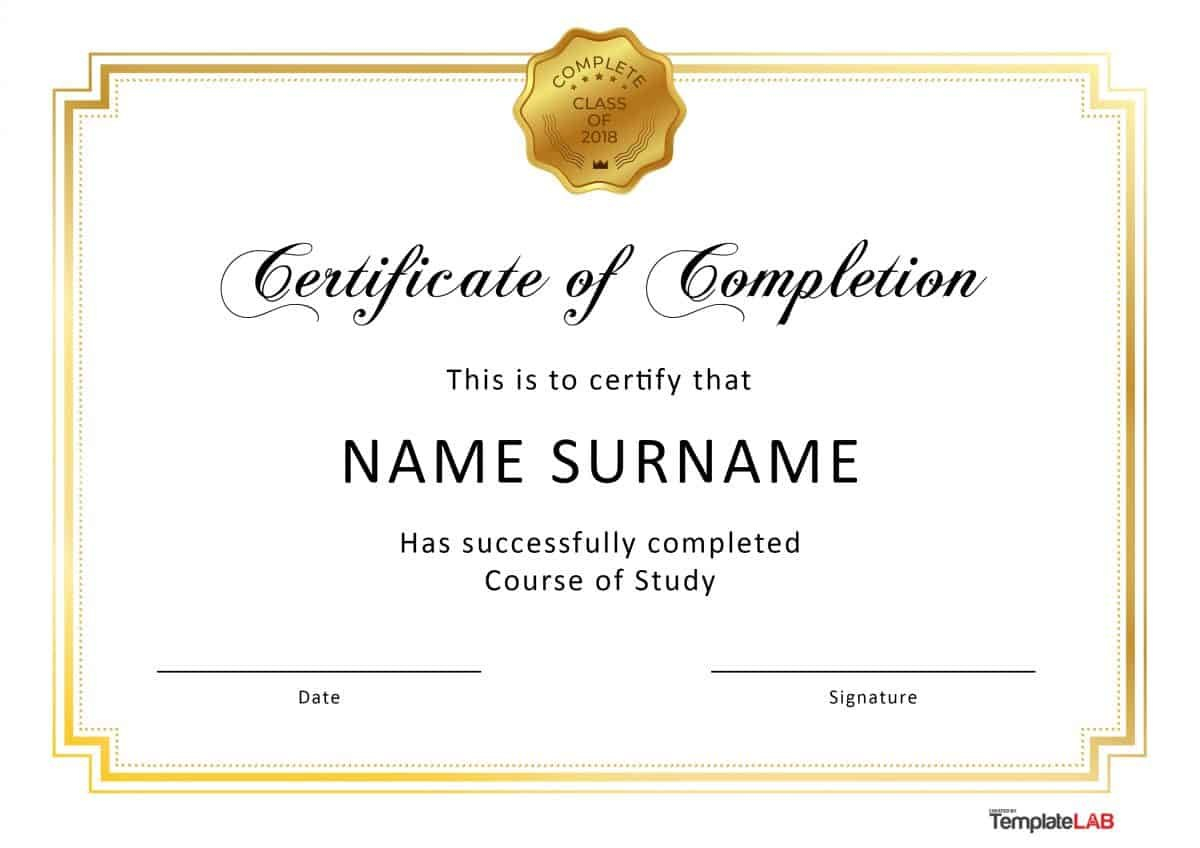 Fantastic Certificate Of Completion Templates Word Powerpoint With Certificate Of Completion Template Free Printable