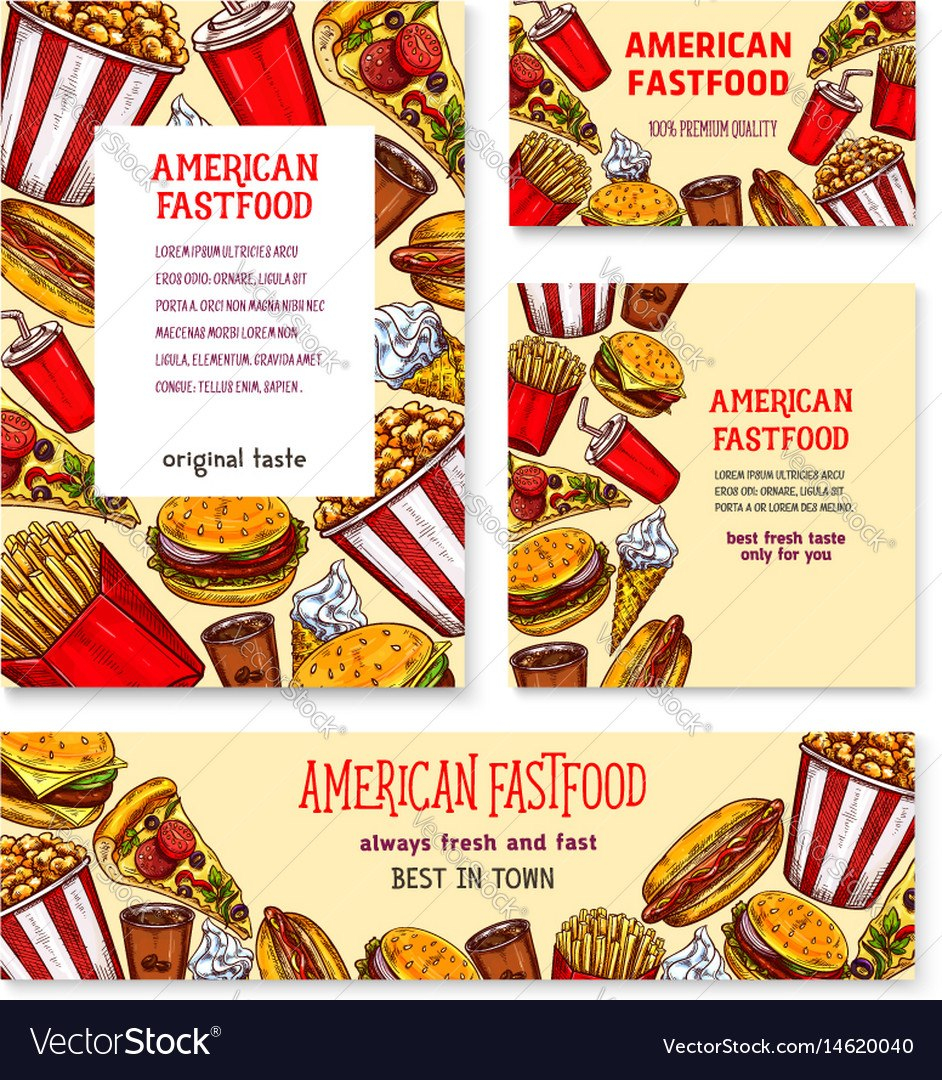 Fast Food American Restaurant Banner Template Set Vector Image Inside Food Banner Template