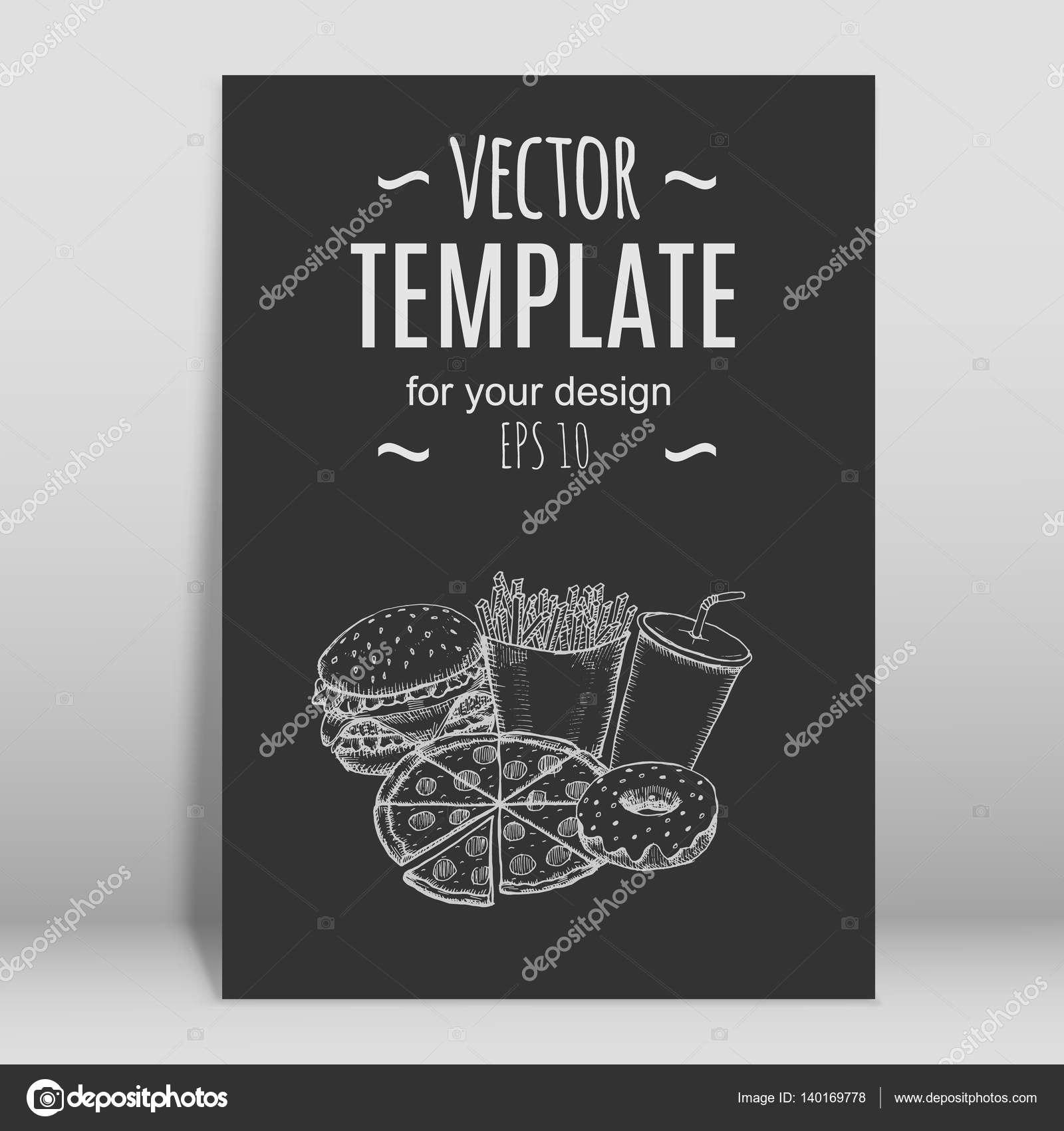 Fast Food Menu Design Template Hand Drawn Vector — Stock Vector With Fast Food Menu Design Templates