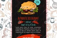 Fast Food Menu Design Template With Handdrawn Vector Illustration intended for Fast Food Menu Design Templates